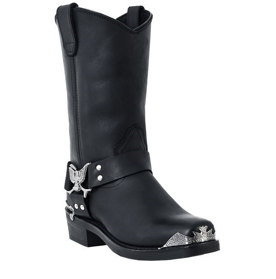 Leather Eagle Harness Motorcycle Boots