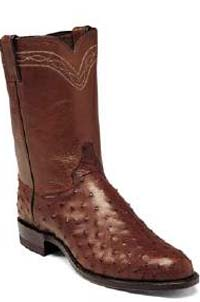 Justin Chocolate Full Quill Ostrich Ropers