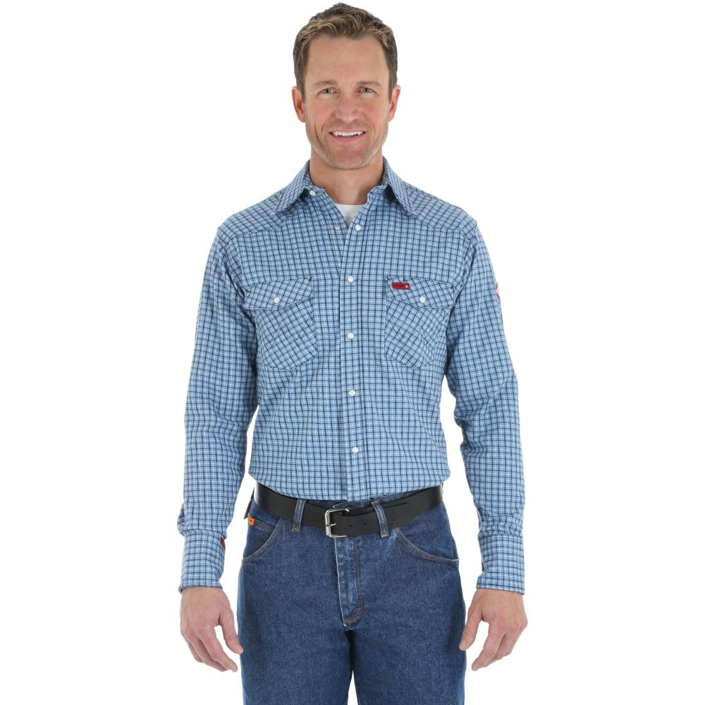 Wrangler Fr Plaid Work Shirt with Pearl Snaps