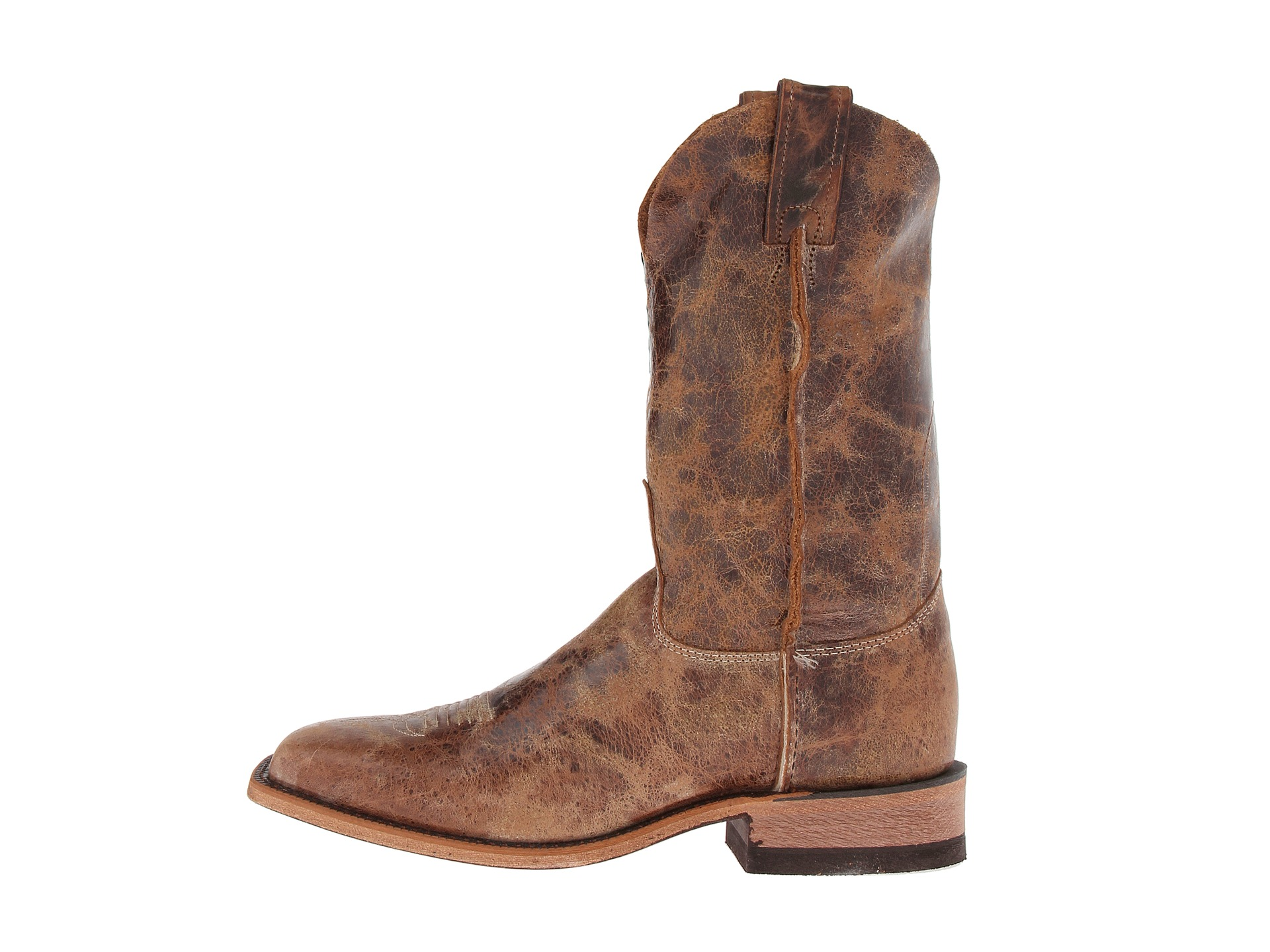 JUSTIN MEN'S CRACKED BROWN BENT RAIL BOOTS WITH CRACKED BLACK TOP